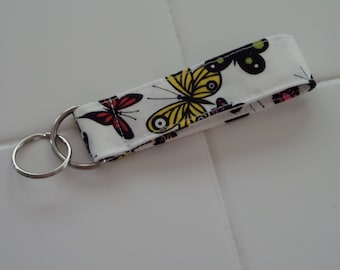 Butterfly Print Fabric Keychain
