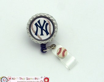 New York Baseball - Retractable Badge Reel - Sports Badge Clips - Baseball ID Holders - Male Badge Reels - Fun Badge Clips - Gifts Under 10