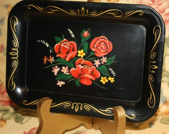 Miniature Tole Style Metal Tray, Black with Red Roses, Gold Scroll Edging, Nice Vintage Condition