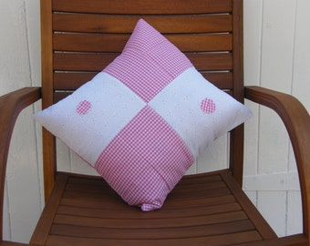 Cushion cover,pillow sham,throw pillow,  pink gingham and broderie anglaise padded square design front, pink gingham back, envelope closure.