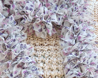 Scarf, knitted in a frilly ruffle lilac floral RIBBON 65 inches in length,