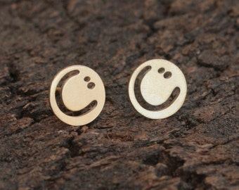 Gold Smiley Earrings , Tiny Gold Studs , Kawaii Jewelry , Teen Girl Gift , Smiley Posts , Gold Smiley Studs , Emoji Earrings , Emoji Studs