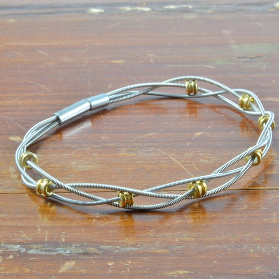 braided recycled guitar string bracelet w by guitarstringjewelry. Black Bedroom Furniture Sets. Home Design Ideas