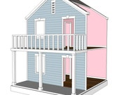 Doll House Plans for American Girl or 18 inch dolls -  4 Room Side Play - NOT ACTUAL HOUSE