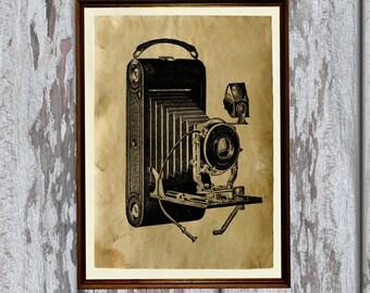Vintage camera print Antique paper Antiqued decor AK243
