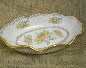 Vintage Abingdon Oval Fruit Bowl / Serving Dish Floral Pattern with Gold Trim and Ruffled Egde
