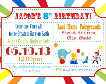 Circus Invite Carnival Invite Circus Invitation Canrival Invitation Carnival Birthday Party Circus Birthday Party Invitation Kids Invite