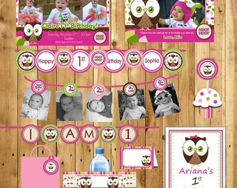 Owl Birthday Party Package Girl or Boy Look Whoos turning 1 Owl - Invite, thank you, 3 banners, water bottle labels tags - (DIY Printable)