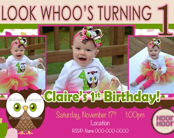 owl invitation owl birthday Look Whoos Turning one invitation - OWL Theme - Birthday Party Invite - 1st Birthday Girl photo pictures 1 year