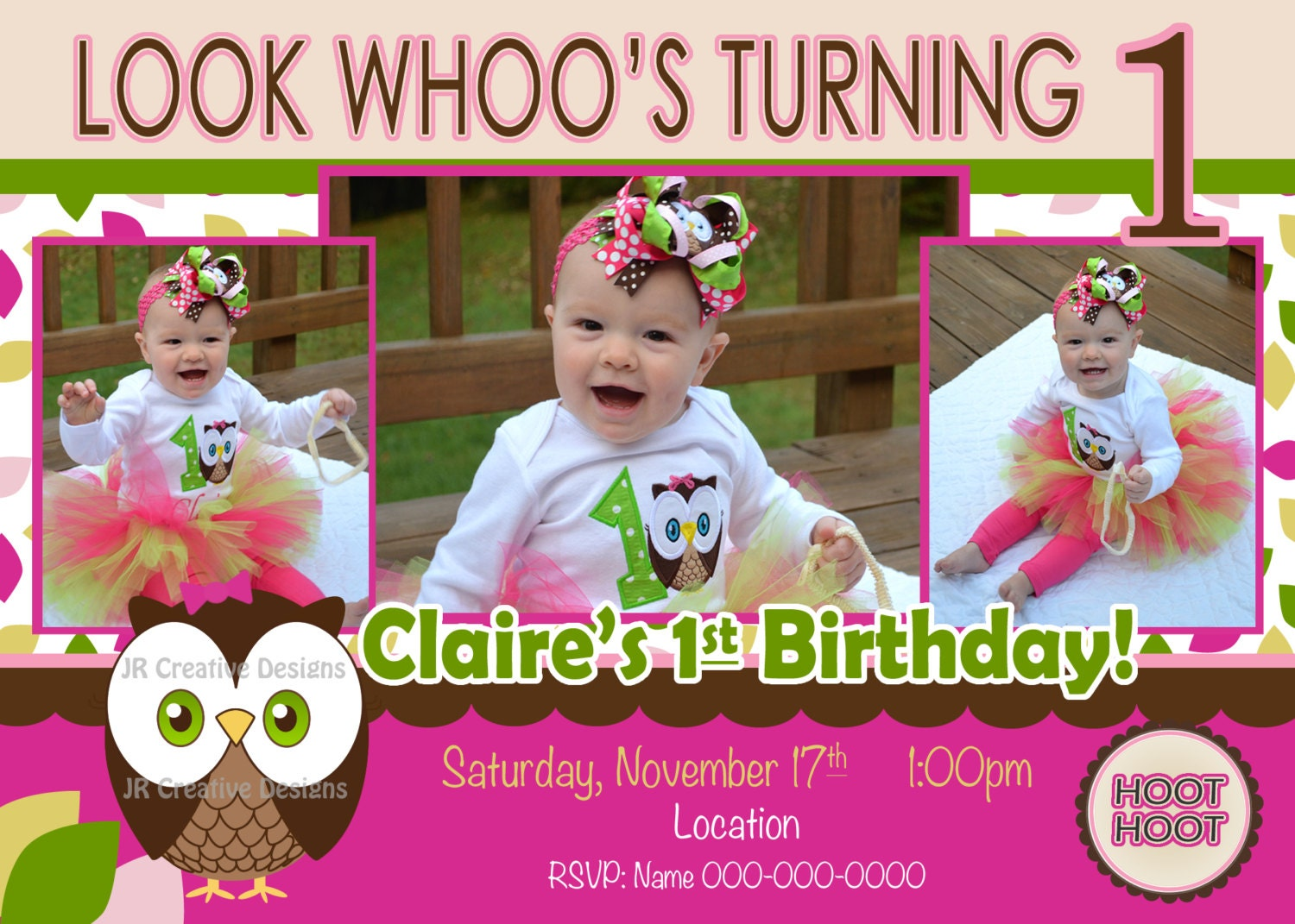 owl invitation owl birthday Look Whoos Turning one invitation