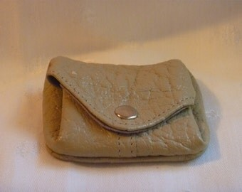 Coin Purse Flat Bottom Light Beige Leather Mutare Vintage Ladies Accessory