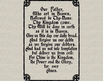 Christian Religious Bible Quote Lords Prayer Gothic Script Printable Digital Download for Iron on Transfer Fabric Pillows Tea Towels DT671