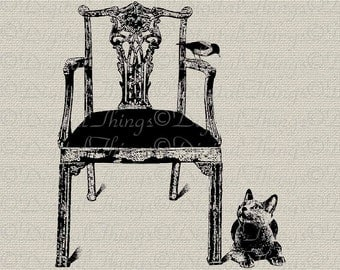 Russian Blue Cat Bird on a Chair Wall Decor Art Printable Digital Download for Iron on Transfer Fabric Pillows Tea Towels DT138