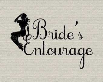 Wedding Bridal Bachelorette Party Pin Up Bride Entourage Printable Digital Download for Iron on Transfer Fabric Pillows Tea Towels DT974