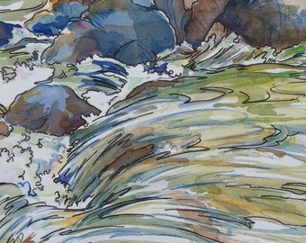 Song of the Water - Giclee Print of multicolor swirling waterfall cascade over granite river boulders
