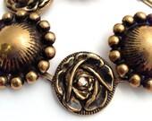 Vintage Look Metal Button Link Bracelet, silver or gold