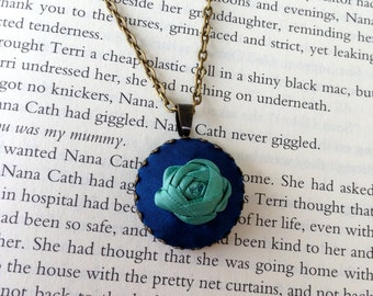 Upcycled Silk Ribbon Rose Pendant in Blue and Turquoise- Handmade by BeanTown Embroidery