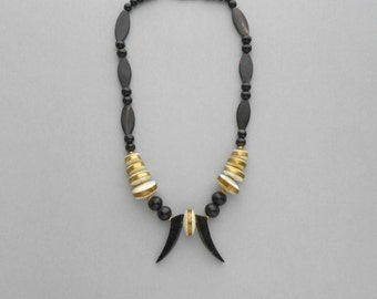 Tribal Necklace. Horn Brass Mother of Pearl.