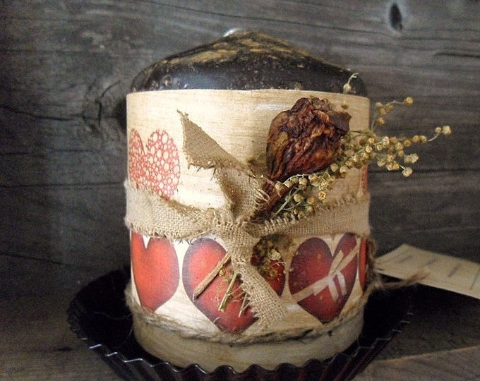 Featured listing image: Primitive Valentine  Pillar Candle & Pan