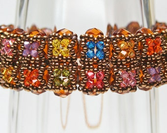 483-Sherry Cathedral Windows Bronze & Crystal Bracelet-Beadwoven-Handmade-Artisan-483