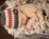 Designer Baby Boy Hat With Fresh Urban Design Splashed with Orange HANDCRAFTED Newborn Infant  Sold WORLDWIDE READY