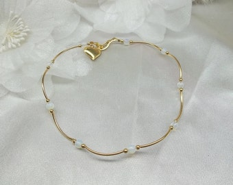 Gold Moonstone Anklet Summer Beach Jewelry Opalite Ankle Bracelet Gold Anklet 14k Gold Filled Anklet or Plated BuyAny3+Get1Free