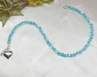 Girls Anklet Aquamarine Anklet Blue Crystal Anklet Heart Anklet Blue Anklet With Swarovski Elements 925 Sterling Silver or Plt BuyAny3+1Free