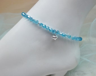 Aquamarine Ankle Bracelet Blue Crystal Anklet Silver Heart Anklet Sterling Silver Ankle Bracelet Beach Anklets For Women BuyAny3+1Free