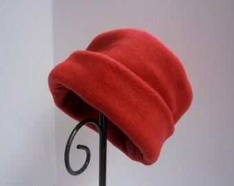 Dark Red Fleece Hat, Roll Brim Hat, Soft and Warm Hat, Red Hat, Fleece Hat