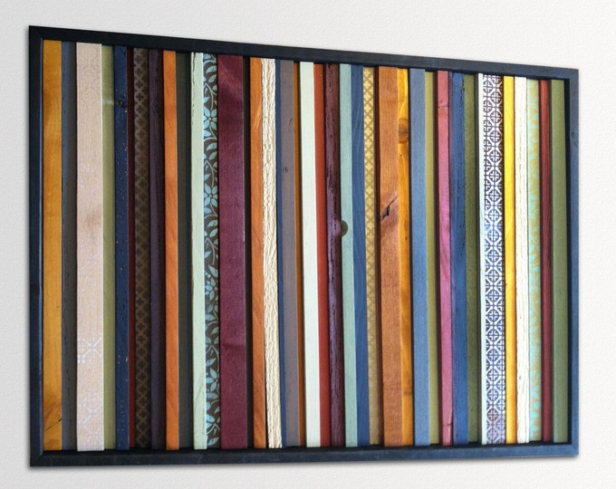 "Modern Wood Wall Art - ""India"" - Wood Stripes in Orange, Yellow, Blues, Reds - 25"" x 36"" - Abstract Wood Art - Modern Wood Painting"