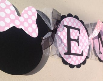 Minnie Mouse Inspired Name Banner Light Pink And White Polka Dots