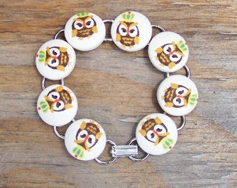Cute Owl with Crown Button Bracelet