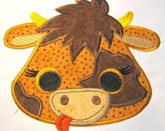 Cow Farm Animal Face Machine Applique Embroidery Design - Cow Face, Cow Applique, Cow Pattern, Cow Face Applique, Farm Applique