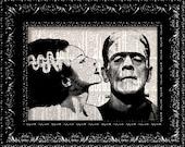 Frankenstein and Bride of Frankenstein- Monsters In Love -  Geekery Vintage Dictionary Print  Book Page Art Upcycled Vintage Book Art