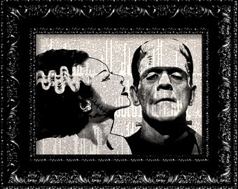 Frankenstein Bride of Frankenstein - Halloween decor - Dictionary Print Art Poster Illustration, vintage dictionary - wall decor