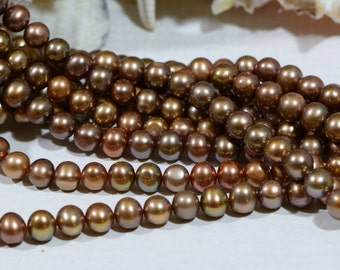 Pearl Beads Cultured brown Pearl Beads Jewelry Making Supplies