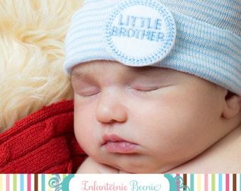 READY TO SHIP Newborn Hospital Hat for Boys (Little Brother) (newborn boy beanie, newborn boy hat, little brother newborn hospital hat)
