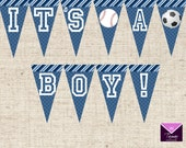 Printable SPORTS Baby Shower Pennant Banner - INSTANT DOWNLOAD