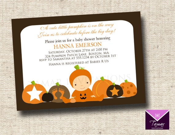 Printable Baby Shower Invitation - Little Pumpin Patch - Great for Fall, Halloween or Pumpkin theme showers
