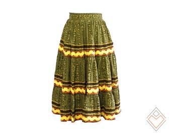 50s vintage novelty print full skirt / Natural Election / 28 inch waist