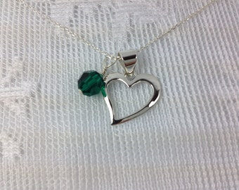 You Complete Me : Sterling Silver Heart Shape Pendent with Swarovski Charm