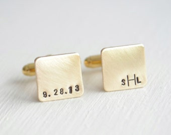 PRIORITY SHIPPING Personalized mini square gold cufflinks for men