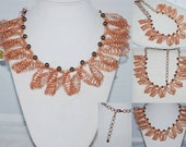 Crocheted Copper Wire Lace Necklace, Crochet Statement Necklace, Copper Bib Necklace, Bold Necklace, Crochet Wire Jewelry