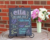 "11""x14"" canvas, first birthday chalkboard style custom ink drawing, the original Favorite Things Poster™ [Ella]"