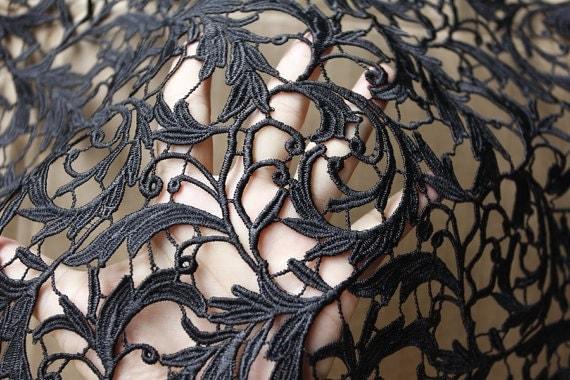 Black Lace Fabric, Crochet Lace Fabric ,Black Wedding Dress Fabric ...