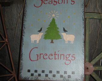 "Primitive Holiday Wooden Hand Painted Christmas Sign -  "" SEASONS GREETINGS  "" Country Rustic Housewares"