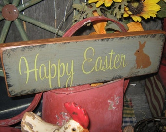 "Primitive Wood Sign Easter Holiday  Bunny Rabbit "" Happy Easter "" Handpainted Country Folkart Housewares Wall Decor"