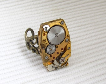 Steampunk Jewelry, Steampunk Gothic  Statement Ring with vintage gold plated watch movement. Gift under 30 Dollars