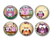 Music Owls - set of 6 button badges or fridge magnets