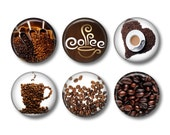 Coffee - set of 6 button badges or fridge magnets